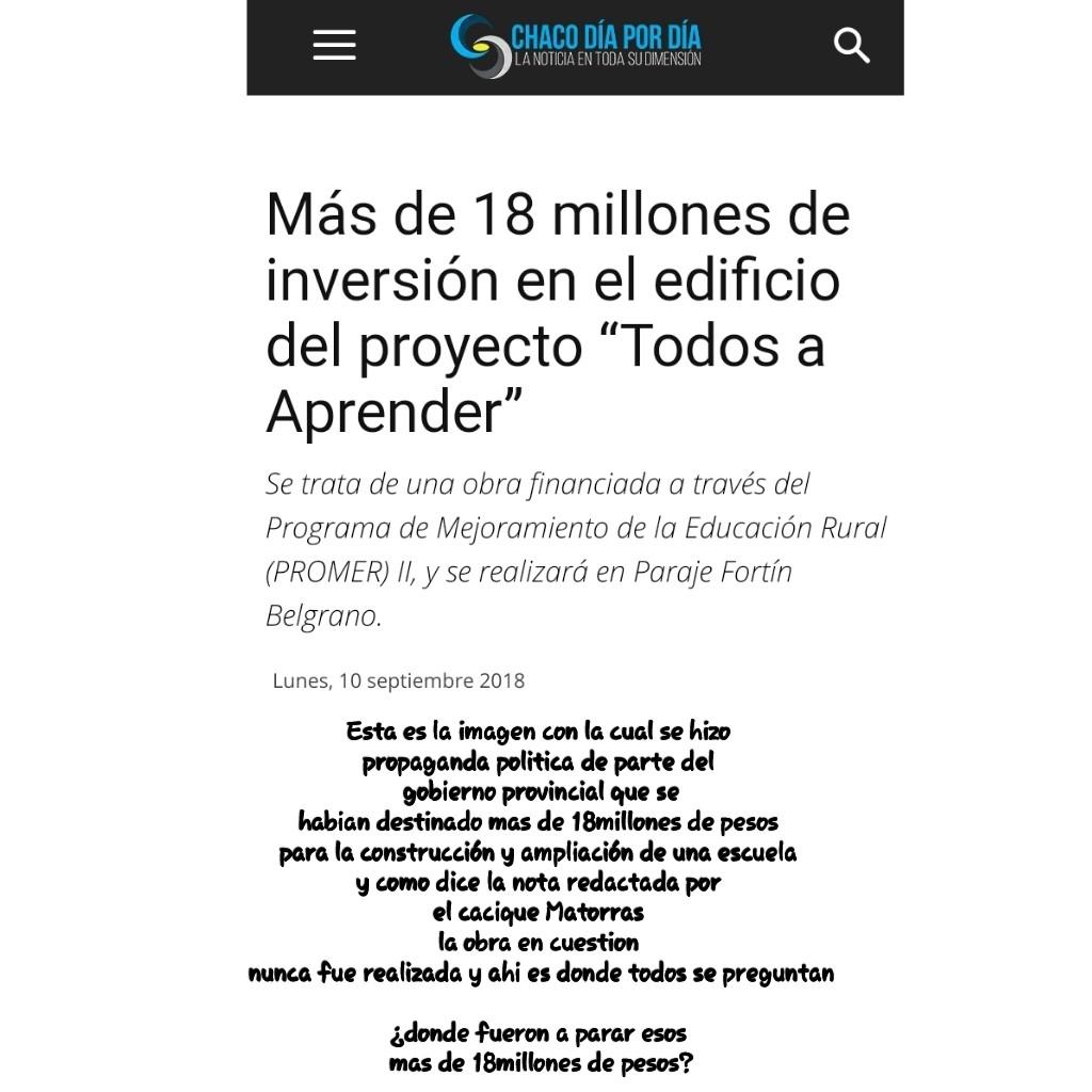 Nota presentada por el Cacique Matorras al señor Gobernador de la provincia del Chaco