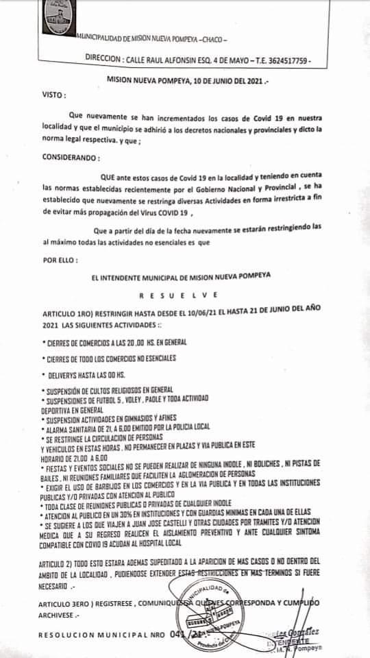 Nuevas Restricciones en la localidad de Misión Nueva Pompeya