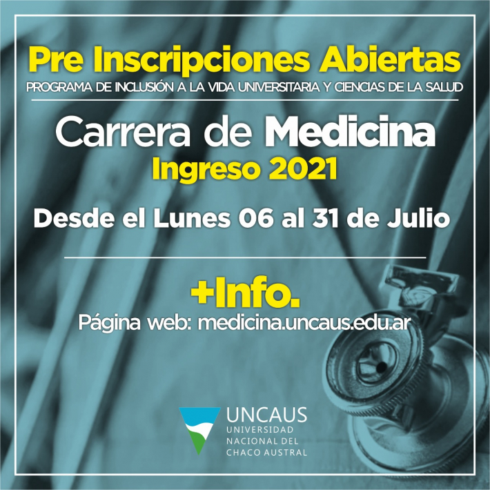 UNCAus abrió preinscripciones para el Programa de Ingreso a la carrera de Medicina