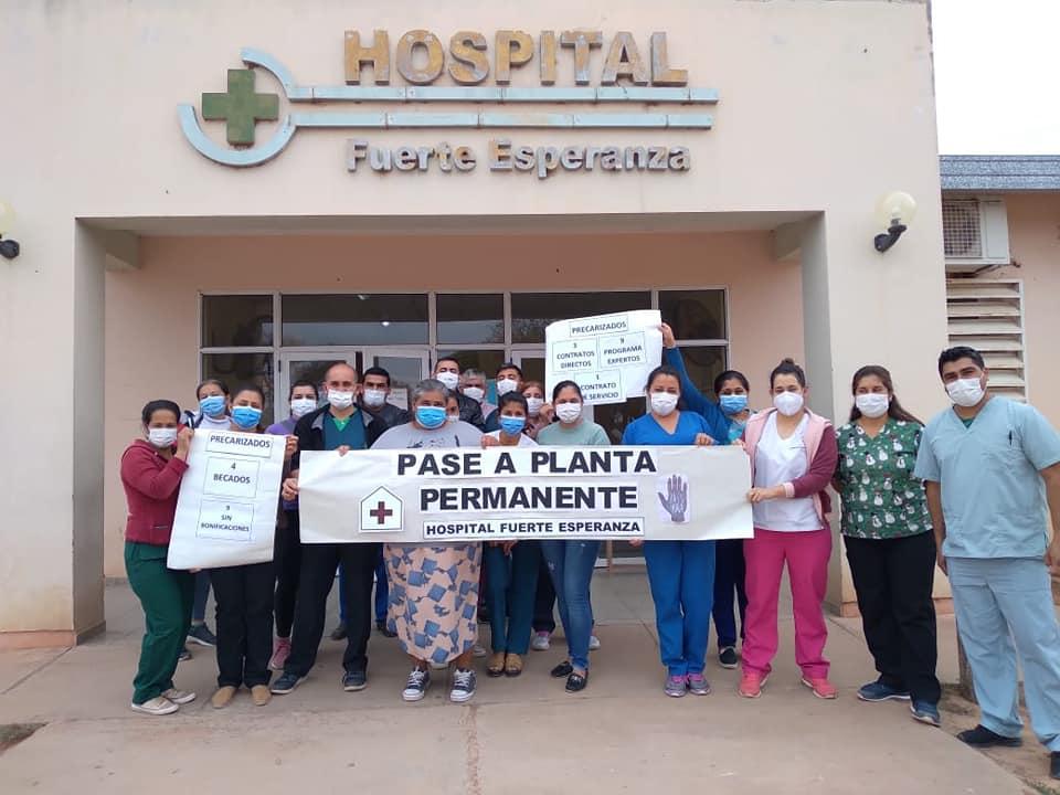 Fuerte Esperanza: Personal de Salud Pública reclama pase a Planta y Salarios Dignos.